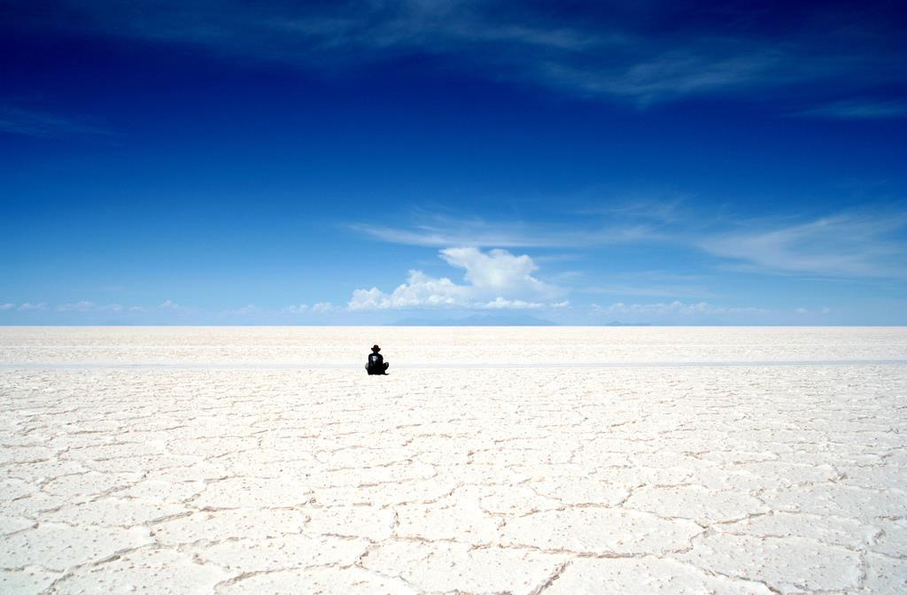 Sitting on the Salar de Uyuni